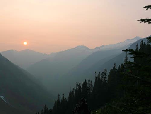 sunset in the haze