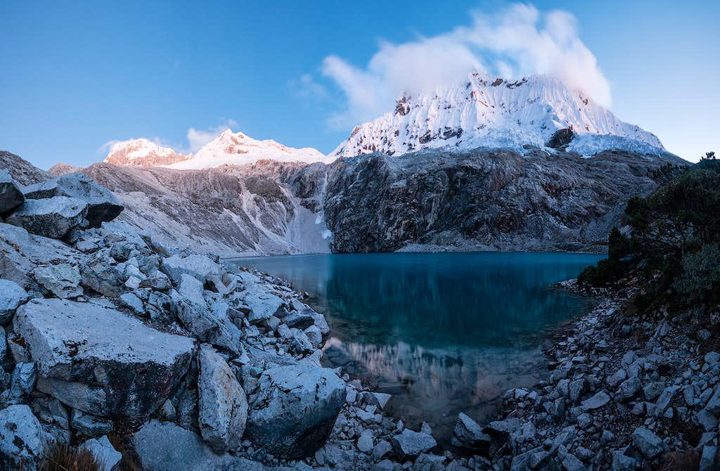 Laguna 69 and the nevados Pisco and Shapraraju