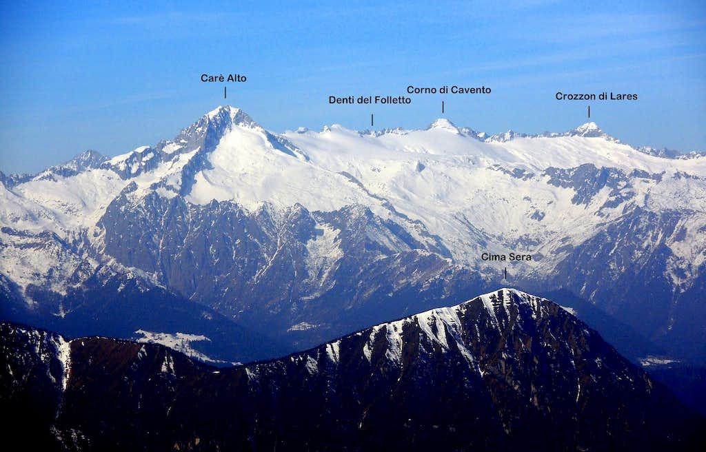 Cima Sera and the Carè Alto subgroup seen from Monte Stivo