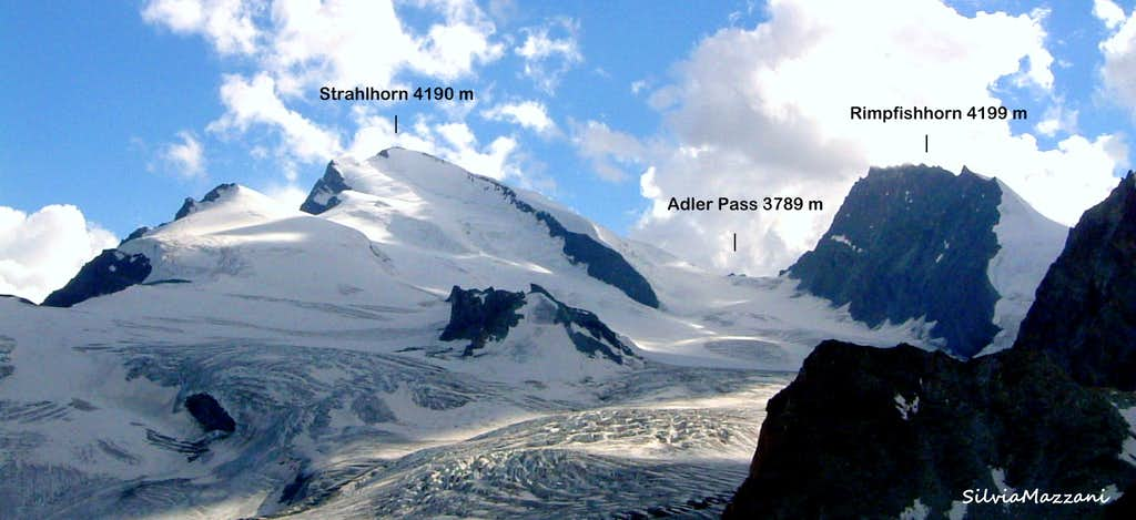 Strahlhorn and Rimpfishhorn labelled seen from Britannia Hut