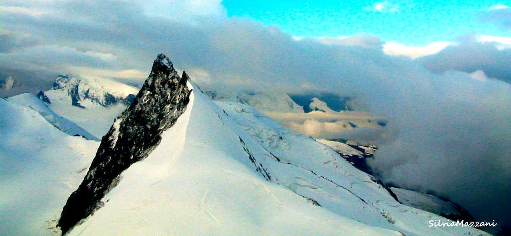 Rimpfishhorn seen while reaching the top of Allalinhorn