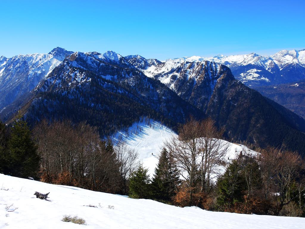 The clearing of Malga Stabio surrounded by the Adamello and Ledro Alps seen from above