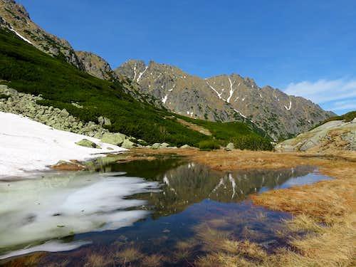 Melting snow lake