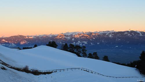 Alpenglow on the Bregenzerwald, from across the Rhine Valley