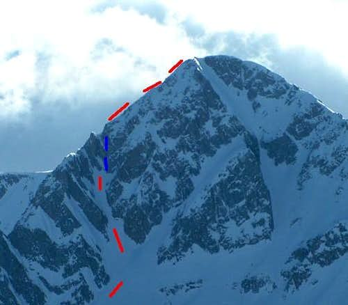 Red is line of ski descent,...