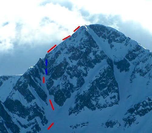 Red is line of ski descent,...