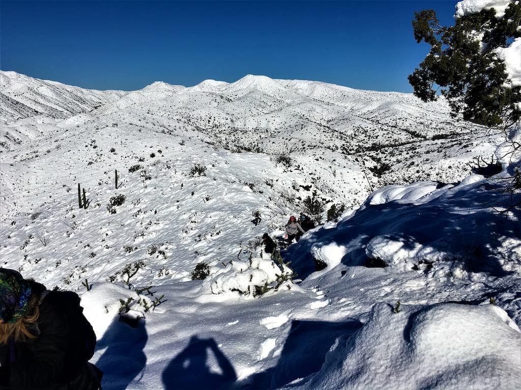 Bronco Creek Peaks in snow - 2/23/2019