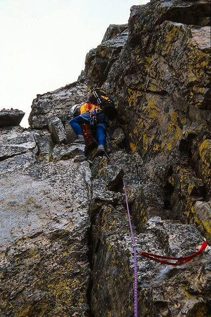 Climbing the crux crack (5.2)...