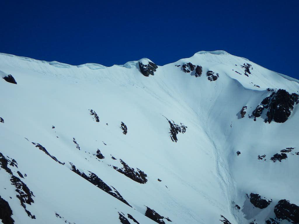Traverse below ridge