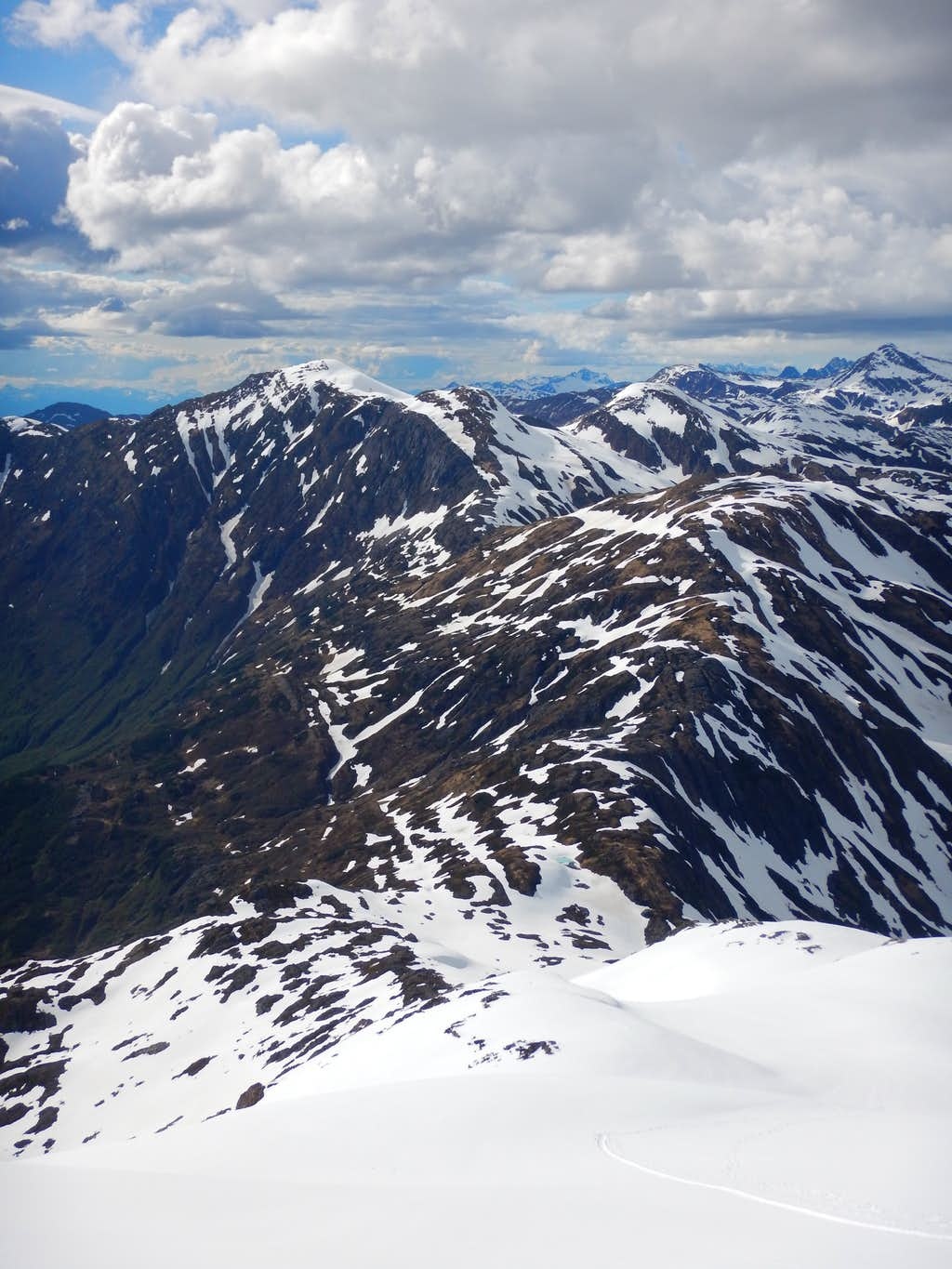 Looking down at approach ridge