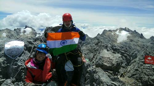 On the summit of Carstensz Pyramid