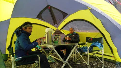 In camp on Carstensz Pyramid