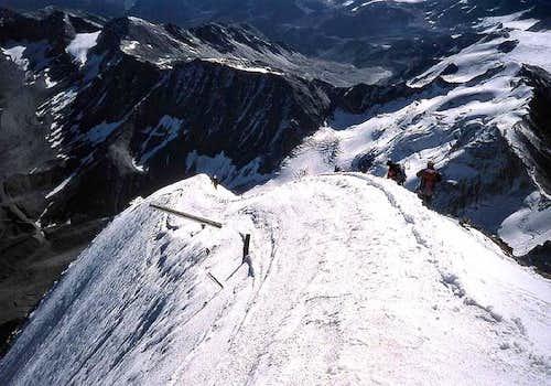 The east ridge below the...