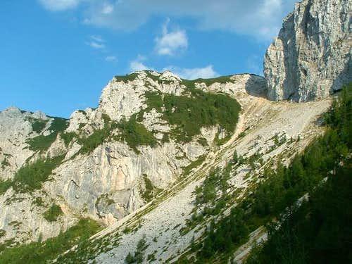 Giant scree slope between...