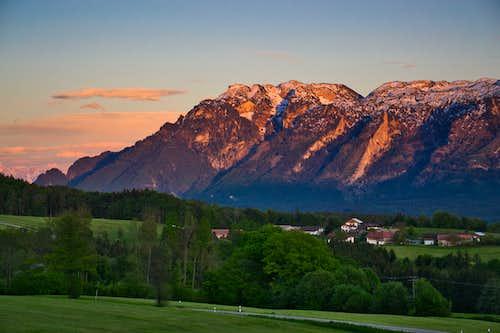 The Untersberg in alpine evening glow