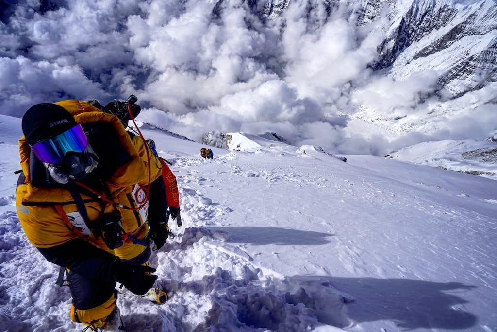 Climber just below summit.
