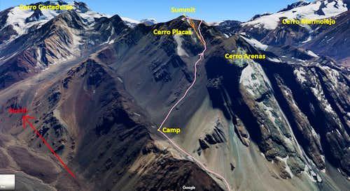 Cerro Placas Route Topo