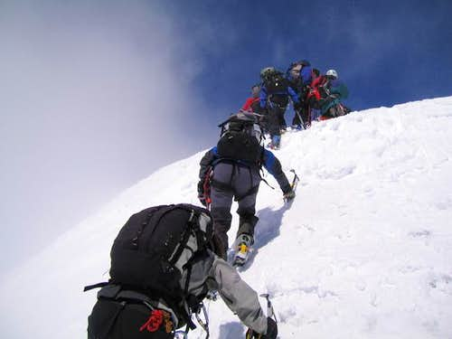 A party ascending the steep...