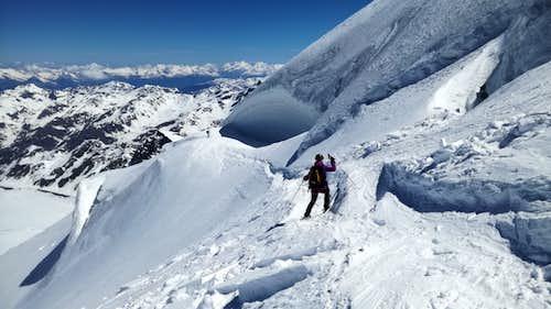 skiing into crevasses