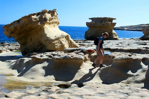 Hiking Malta's coastal paths. St Peter's pool.