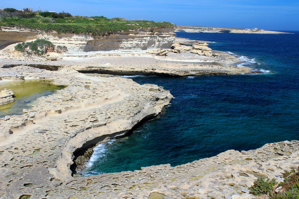 Hiking Malta's coastal paths. Near Tumbrell point.