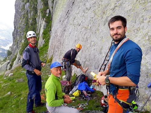 Our team below Cima Breguzzo at the start of Due Neuroni e una sinapsi