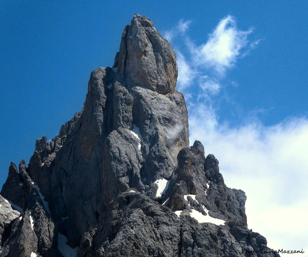 Detail of Cimon della Pala summit pyramid