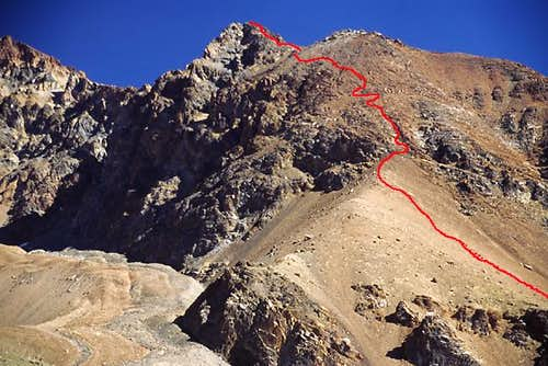 The route marked in red. Be...