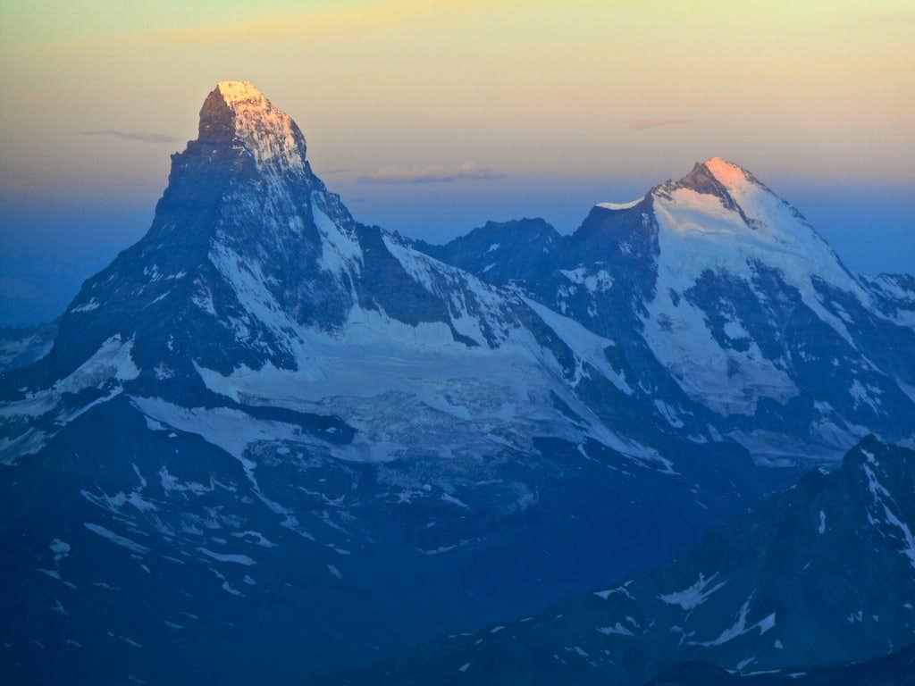 First light on Matterhorn and Dent d'Herens