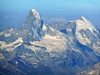 Matterhorn and Dent d'Herens from Dom summit