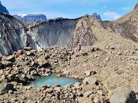 Rock glacier of hold in the wall glacier