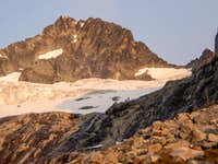Bonanza Peak Rises above the Waterfall Ledges and Mary Green Glacier in the Morning Light