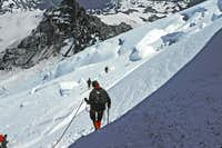 17. Descending the Emmons Glacier, avoiding crevasses