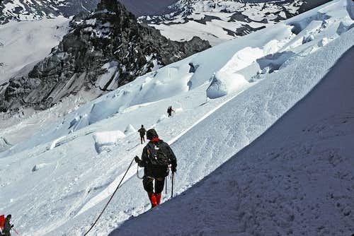 17. Descending the Emmons Glacier, avoiding crevasses