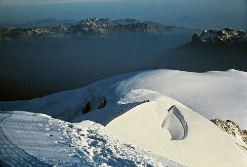 18. On the Grands Bosses, looking back at the Dome du Gouter, Vallot hut and Aiguilles Rouges