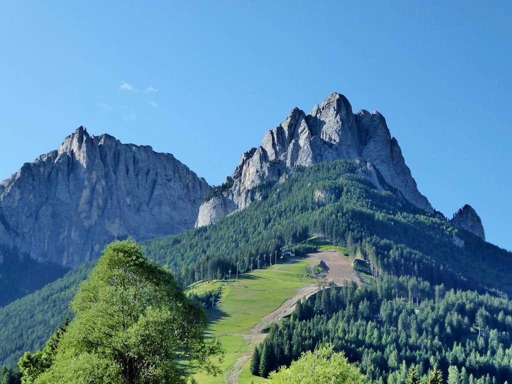 Summits of Vallaccia Subgroup of Marmolada seen from Pera di Fassa