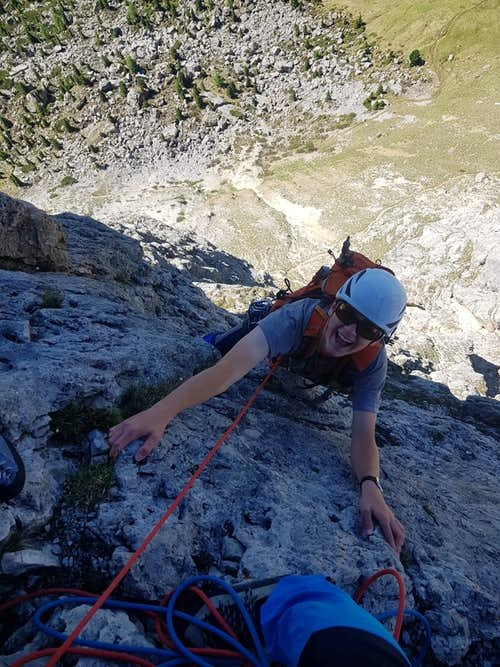 Kessler climbing the Steger Route on First Sella Tower.