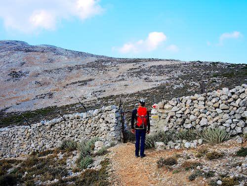 Profitis Ilias, the gate across the stone-wall