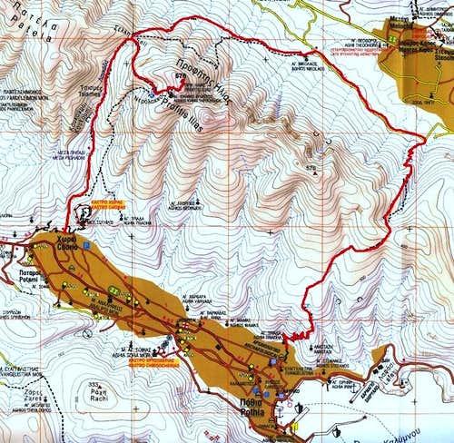 Profitis Ilias map