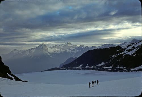 Crossing the Corbassiere Glacier early morning - Mont Fort and Bec des Rosses in distance