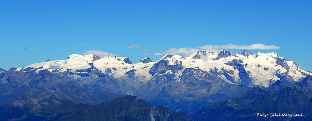 The Breithorn chain and Monte Rosa Group seen from Mont Glacier