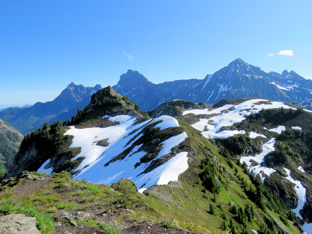 Yellow Aster Butte plus Canadian & American Border Peaks with Mt. Larrabee
