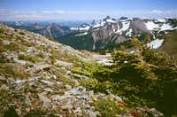 Mt. Fremont - ascent of true summit, looking south toward Cowlitz Chimneys