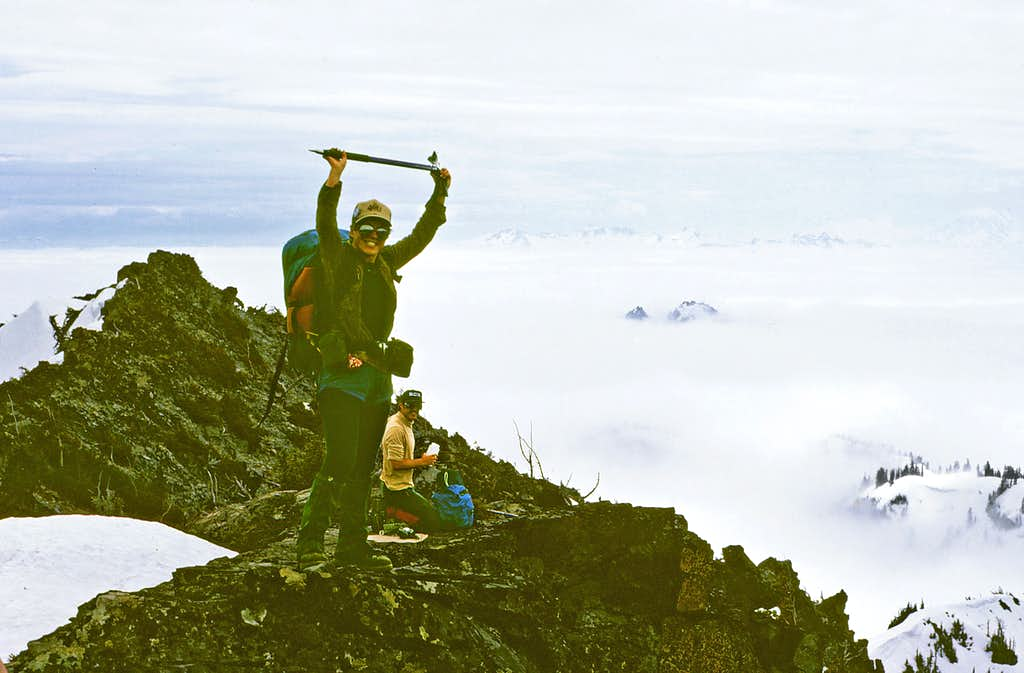 Summit celebration above the clouds