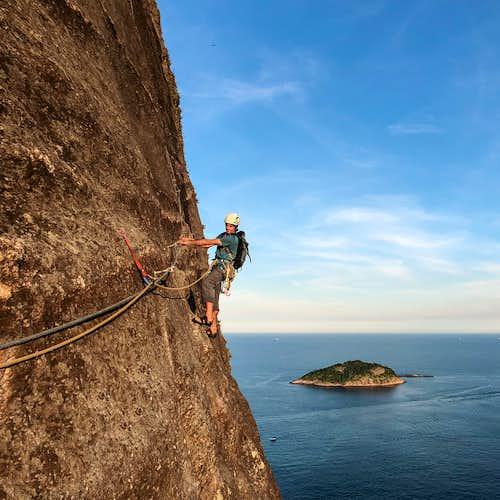 Rock Climbing on Sugarloaf Mountain in Rio de Janeiro, Brazil