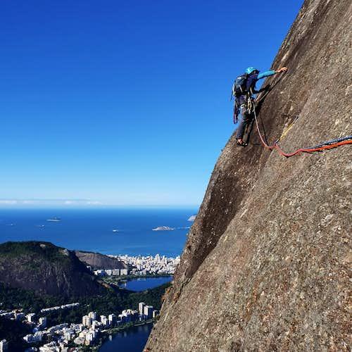 Rock climbing on Corcovado Mountain in Rio de Janeiro, Brazil