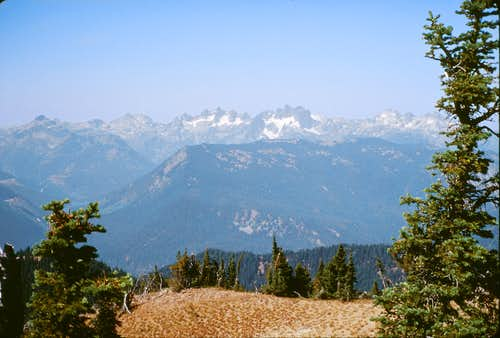 Summit view, looking toward Alpine Lakes peaks, Lemah and Chikamin