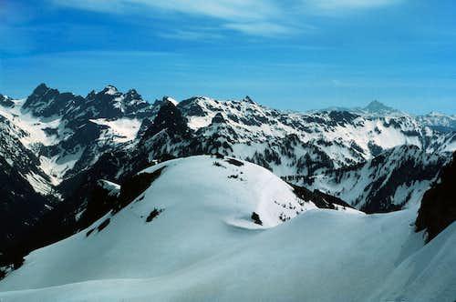 Summit view, toward Alpine Lakes crest and Mt. Stuart
