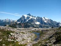Meltwater tarn and Mt. Shuksan from Tabletop