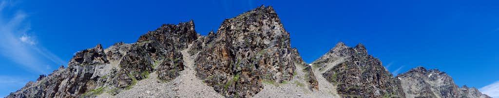 Dossobello ridge and Croda di Cengles seen from Zai valley